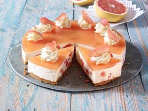 Pink Grapefruit-Frischkäsetorte Rezept
