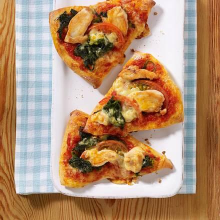Pizza-Ecken mit Hähnchen und Spinat Rezept