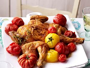Plattes Huhn mit geschmorten Tomaten Rezept