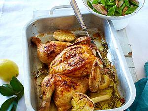 Plattes Huhn mit Zitronen-Knoblauch-Butter Rezept