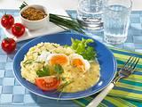 Pochierte Eier in Senfsoße mit Kartoffelpüree Rezept
