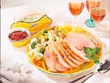Pochierter Schinkenbraten mit Bouillon-Gemüse Rezept