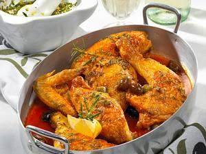 Pollo alla cacciatora (Huhn mit Kapern und Oliven) Rezept