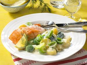 Porree-Bechamel-Gemüse zu gebratenem Lachs Rezept