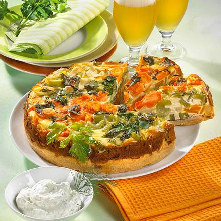 Porree-Torte mit Eier-Schmand-Guss Rezept