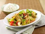 Puten-Asia-Pfanne in Curry-Rahm Rezept