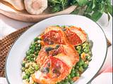 Puten-Scalopine mit Erbsen-Zwiebel-Gemüse Rezept