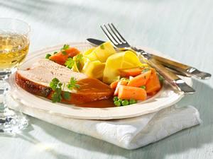 Putenbraten mit Erbsen-Möhrengemüse Rezept