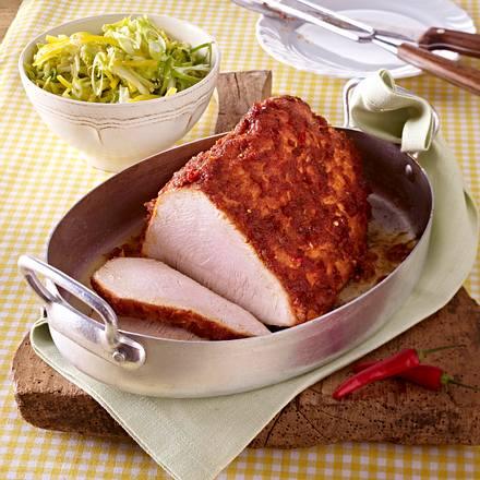 Putenbraten mit Honig-Pesto-Kruste und Krautsalat Rezept