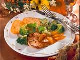Putenfilet mit Rösti-Ecken und Broccoli-Aprikosen-Gemüse Rezept