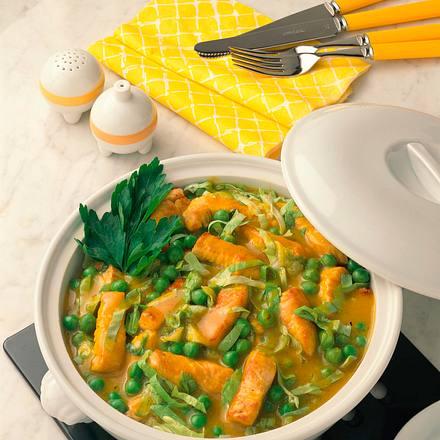 Putengeschnetzeltes mit Erbsen und Salat Rezept