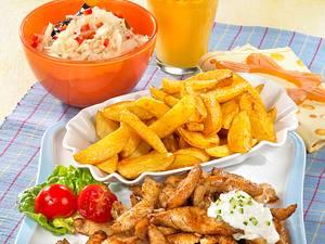 Putengyros mit Kartoffelspalten Rezept