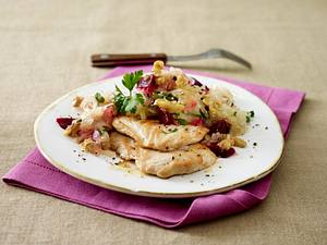 Putenmedaillons zu Sauerkrautsalat Rezept