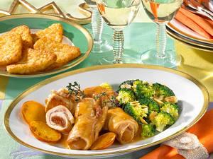 Putenröllchen mit Mandel-Broccoli Rezept