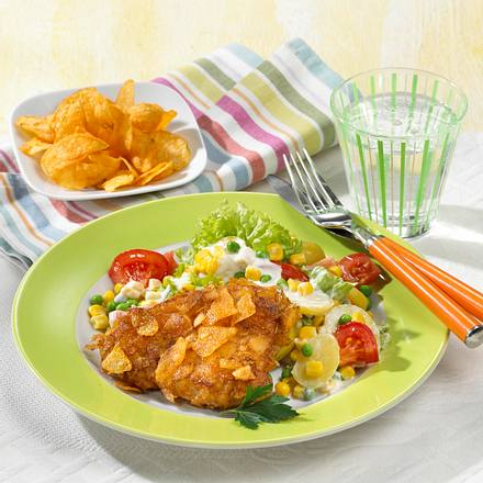 Putenschnitzel mit Chips-Kruste Rezept