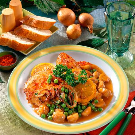 Putenschnitzel mit Erbsen & Pilzen Rezept