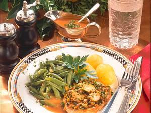 Putenschnitzel mit grünen Bohnen und Salzkartoffeln Rezept