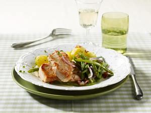 Putenschnitzel mit grünen Bohnen und Salzkartoffeln (Diabetiker) Rezept