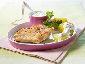 Putenschnitzel mit Kartoffel und Kräuterquark (Diät) Rezept
