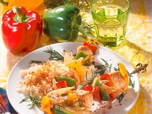 Putenspieße mit Paprika Rezept