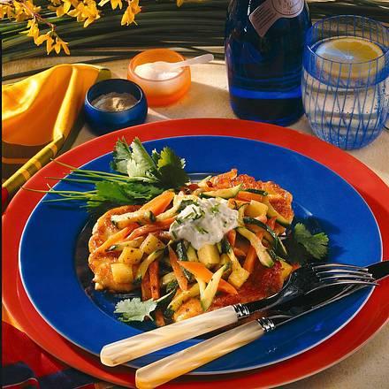 Quarkpuffer mit Möhren-Zucchinigemüse Rezept