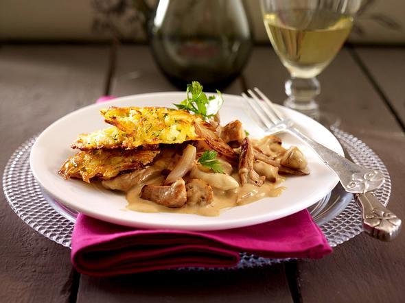 Quitten-Kartoffel-Rösti zu Zürcher Geschnetzeltem Rezept