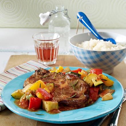 Ratatouille zu Nackenkoteletts und Reis Rezept
