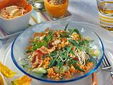 Rauke-Linsen-Salat mit Kichererbsenpüree Rezept