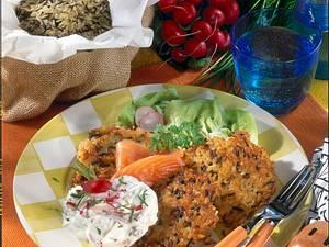 Reisbratlinge mit Radieschen-Meerrettich-Quark und Lachs Rezept