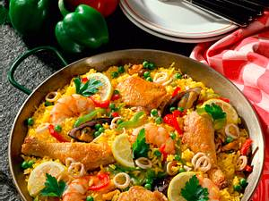 Reispfanne mit Fisch und Fleisch Rezept