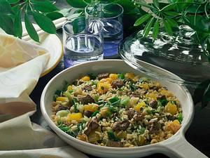 Reispfanne mit Leber und Kürbis Rezept