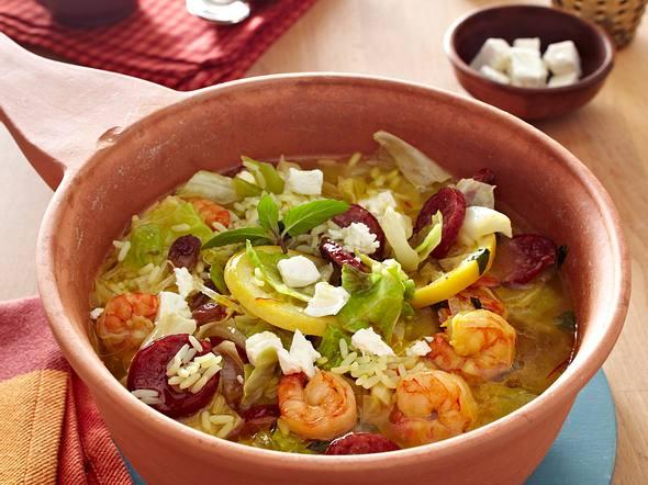 Reistopf mit Garnelen und Kabanossi Rezept