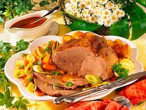 Rinderbraten mit gerösteten Kartoffeln und Gemüse Rezept