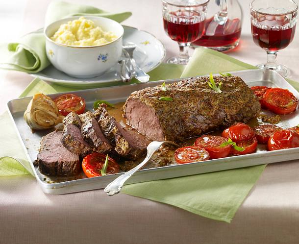 Rinderfilet mit Kräuter-Senf-Kruste Rezept