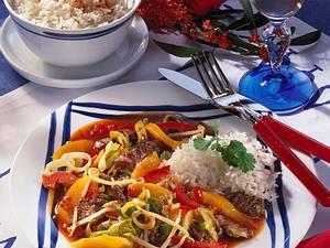 Rindergeschnetzeltes mit Reis Rezept