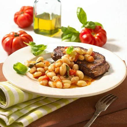 Rindersteaks mit Basilikum-Bohnen Rezept