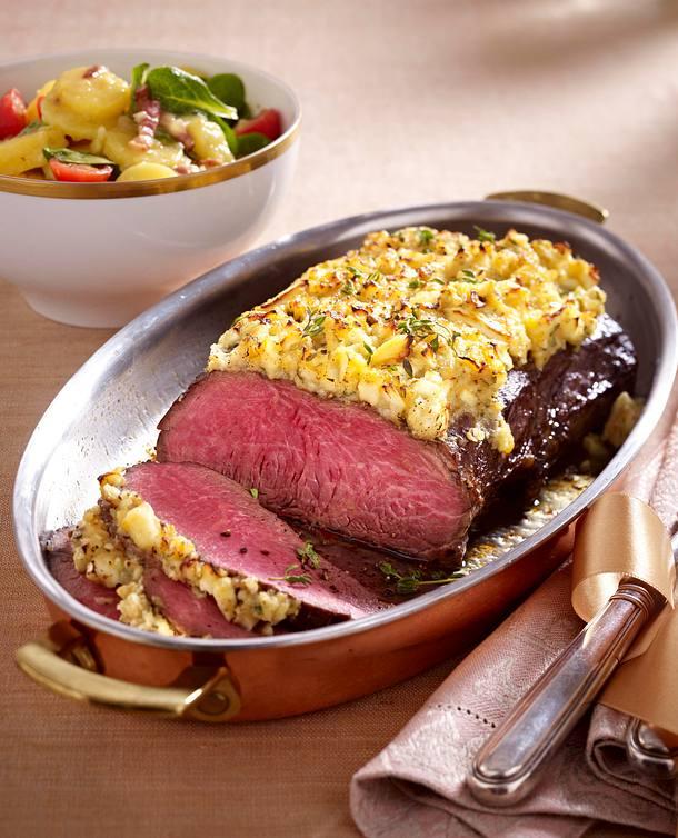 roastbeef mit apfel zwiebel haube und kartoffelsalat rezept lecker. Black Bedroom Furniture Sets. Home Design Ideas
