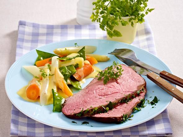 Roastbeef mit Frühlingsgemüse und Hollandaise Rezept