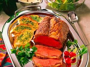 Roastbeef mit Kräuterbaguette Rezept
