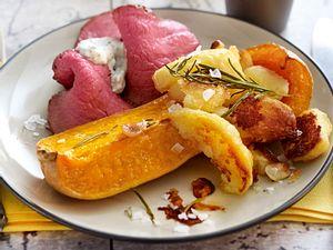 Roastbeef mit Ofen-Butternut-Kürbis Rezept