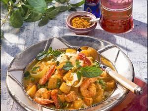 Röstkartoffel-Curry mit Garnelen Rezept