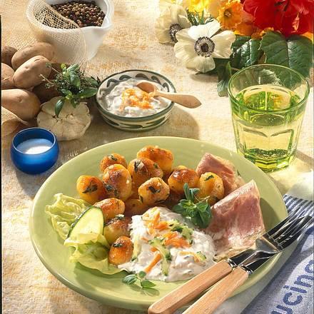 Röstkartoffeln zu Geflügelsülze und Dip (Diabetiker) Rezept