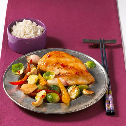 Rosenkohl-Gemüse mit Hähnchen Rezept