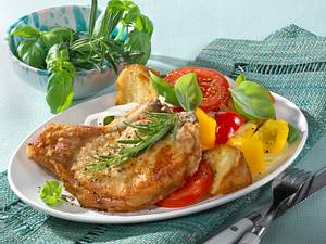 Rosmarin-Kotelett zu Toskanischem Brotsalat Rezept