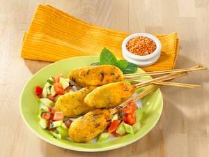 Rote-Linsen-Kebabs auf Gurke-Minze-Salat Rezept