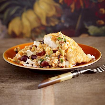 Rote-Linsen-Trauben- Salat mit Lengfisch Rezept