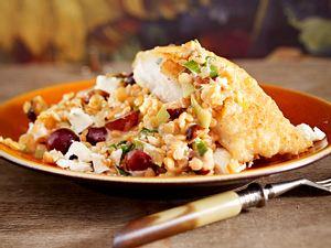 Rote-Linsen-Traubensalat mit Lengfisch Rezept