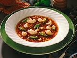 Rote Linsensuppe mit grünem Eierstich und Blumenko Rezept