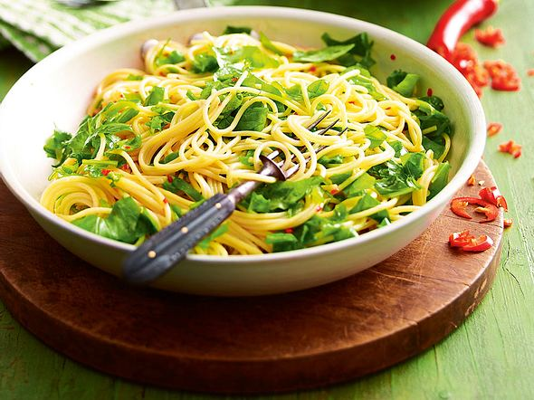 Rucola-Lemon-Spaghetti mit Chili-Öl Rezept