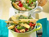 Rucola-Spargel-Salat mit Putenstreifen und Parmesan Rezept